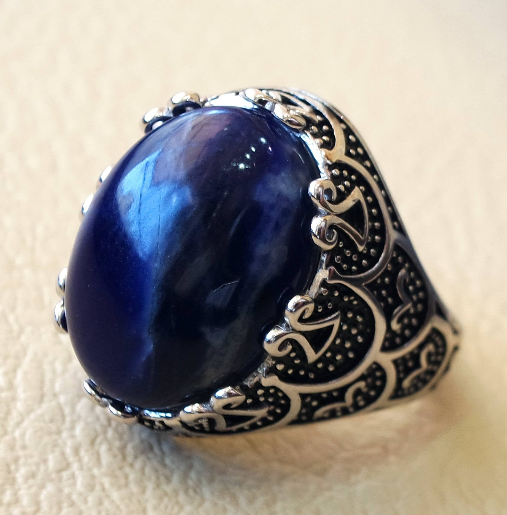 detail fashion for gemstone product jewelry steel wholesale stainless vintage blue royal ring men
