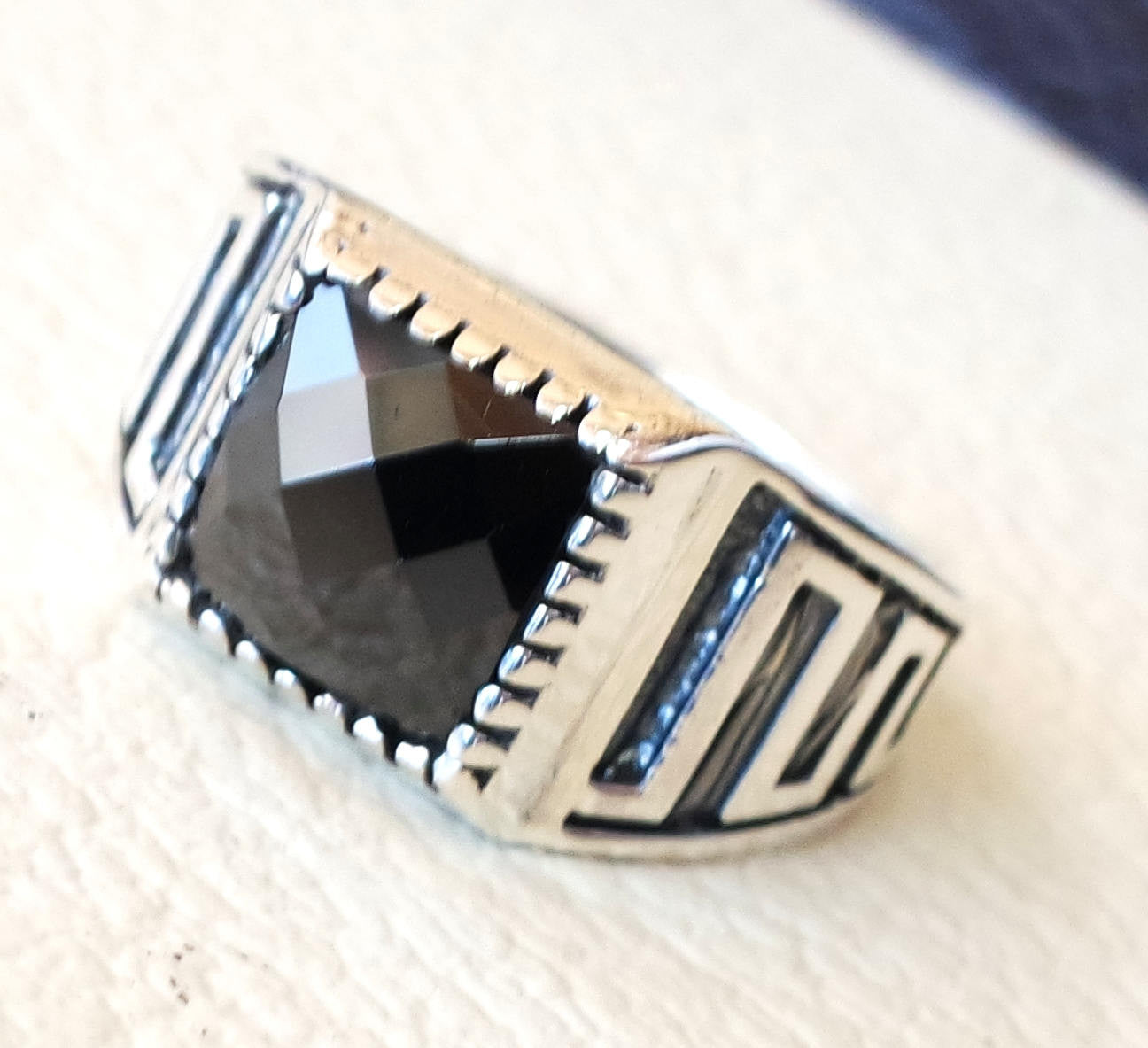 square small pinkie  black  onyx stone sterling silver 925 simple man ring jewelry any size middle eastern antique style fast shipping