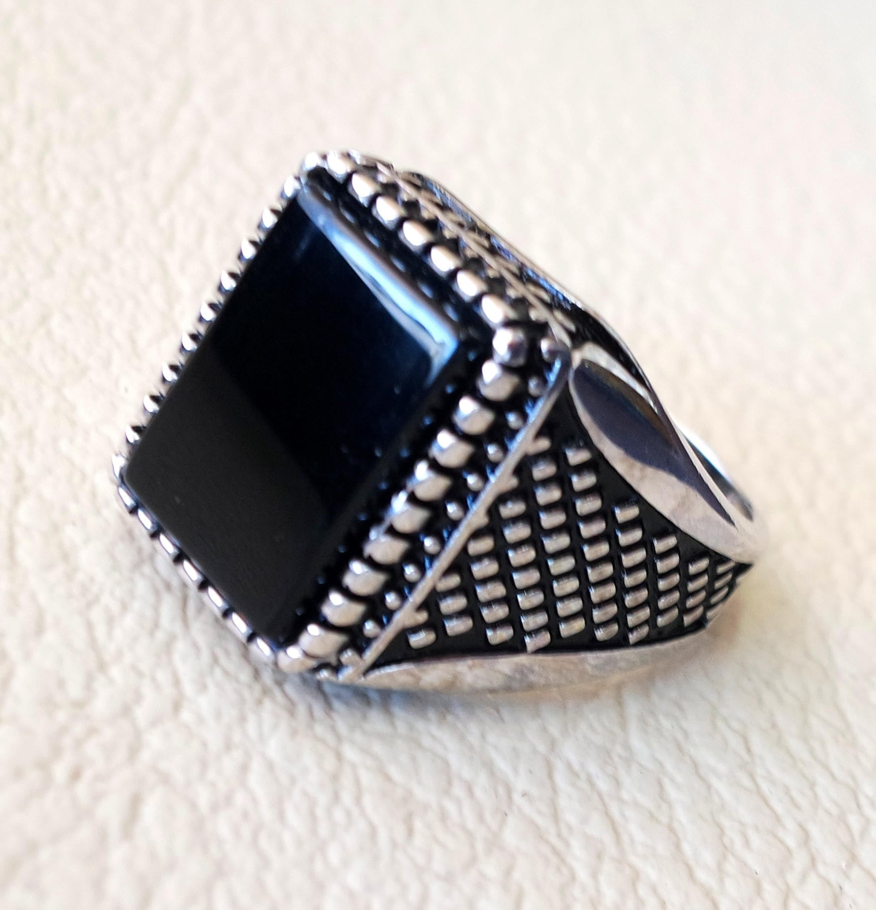 Black aqeeq ring Rectangular silver onyx flat natural semi precious agate gemstone men sterling silver 925 jewelry all sizes fast shipping