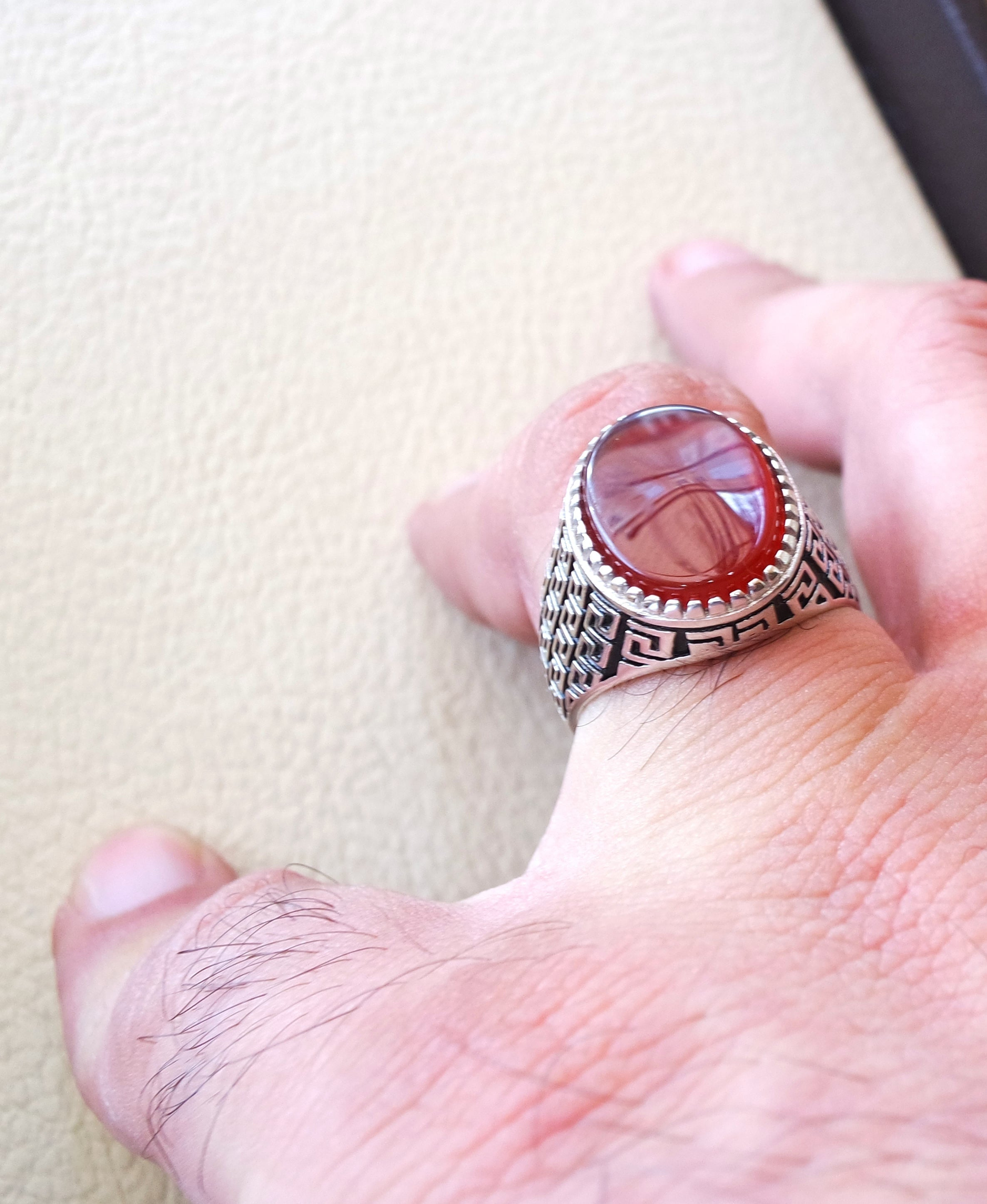 man ring sterling silver 925 aqeeq natural flat agate carnelian semi precious stone oval red cabochon gem arabic middle eastern turkey style