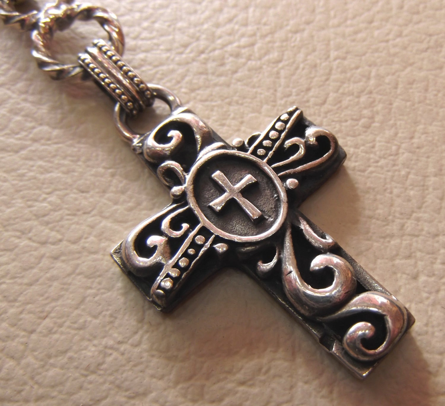 cross sterling silver 925 key chain holder heavy christian cross christianity middle eastern jewelry  vintage style handmade