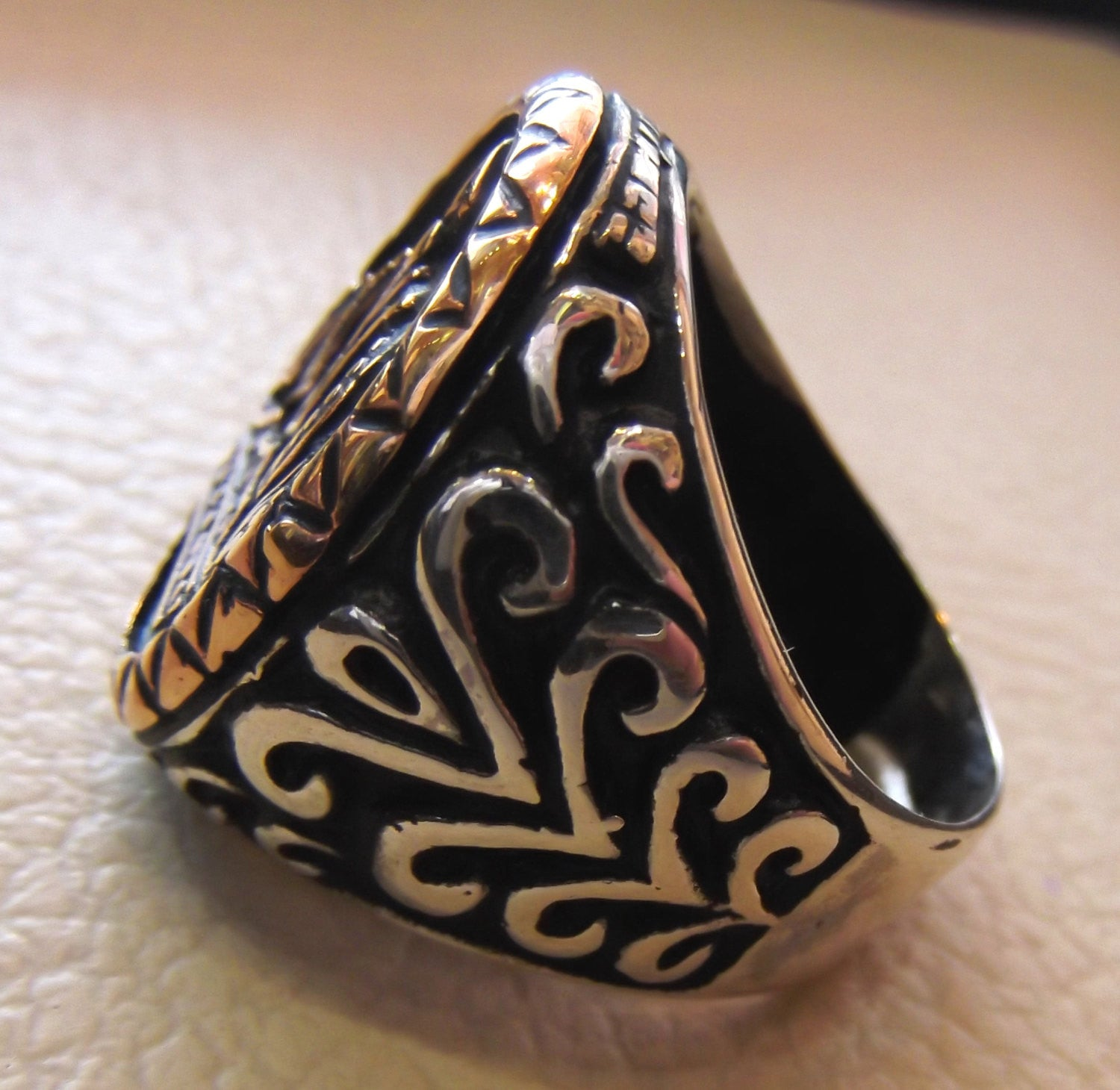royal crown men ring sterling silver 925 vintage style bronze big heavy jewelry all sizes king black and white