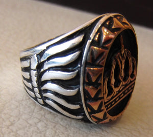 vintage style king royal crown men ring heavy sterling silver 925 and bronze handmade all sizes jewelry
