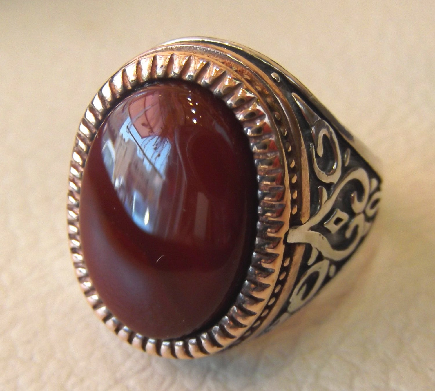 agate carnelian natural stone red yemen aqeeq sterling silver men ring 925 vintage arabic turkish bronze frame jewelry all sizes