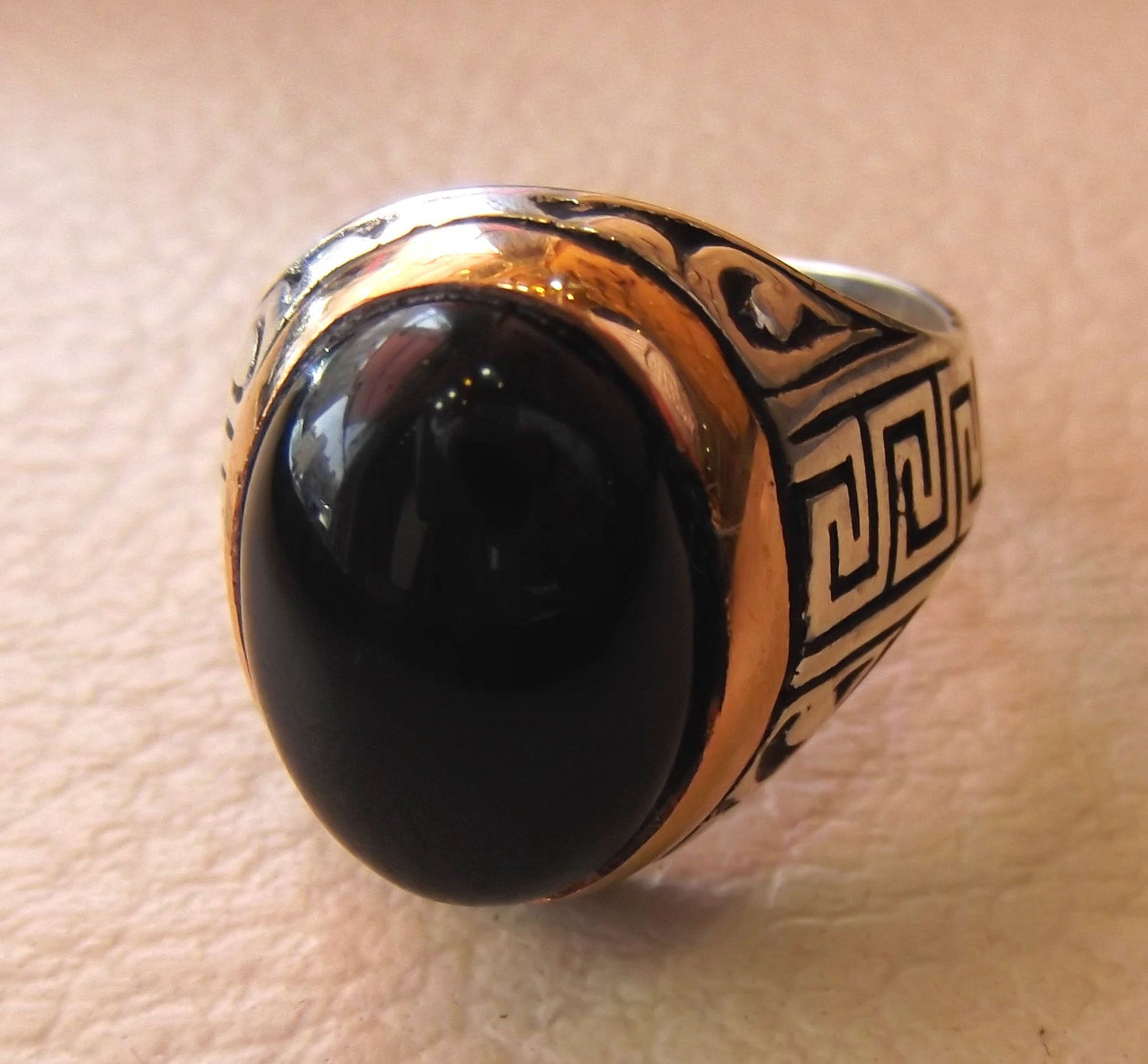 onyx agate black oval cabochon natural semi precious stone sterling silver 925 heavy ring bronze frame all sizes jewelry arabic persian