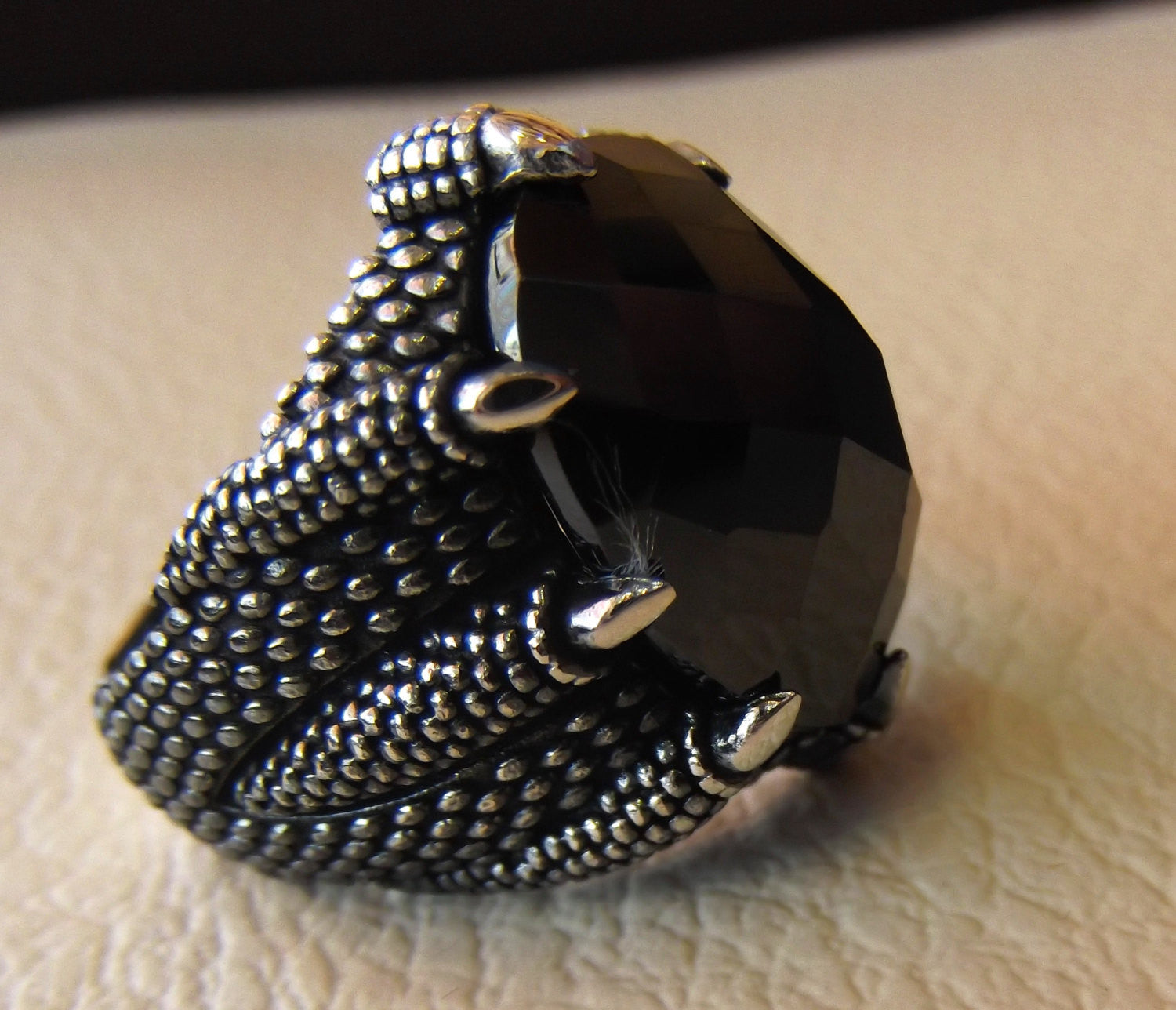 dragon snake mouth sterling silver 925 onyx agate faceted stone oval black all sizes jewelry heavy men ring