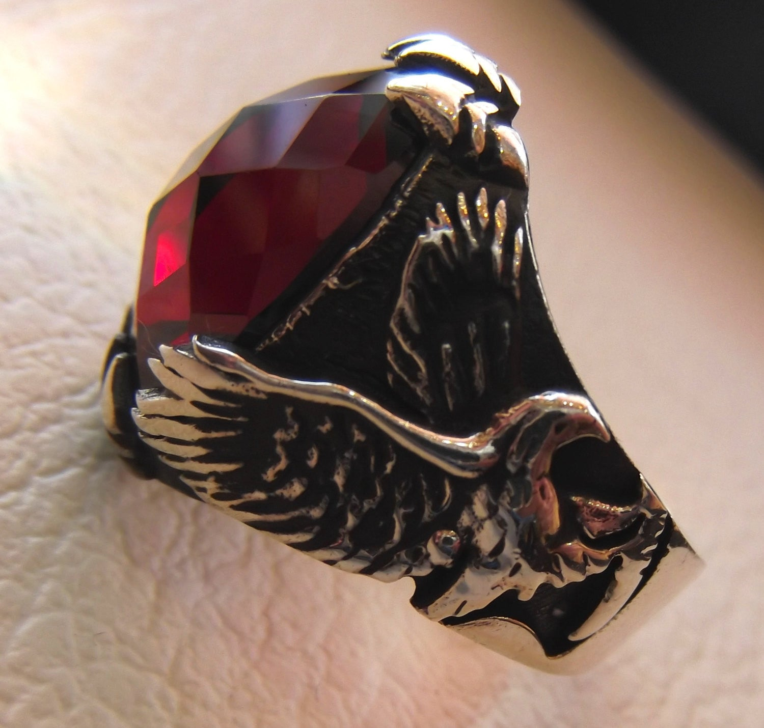 eagle man ring sterling silver 925 oval ruby imitation red faceted crystal stone all sizes jewelry gem