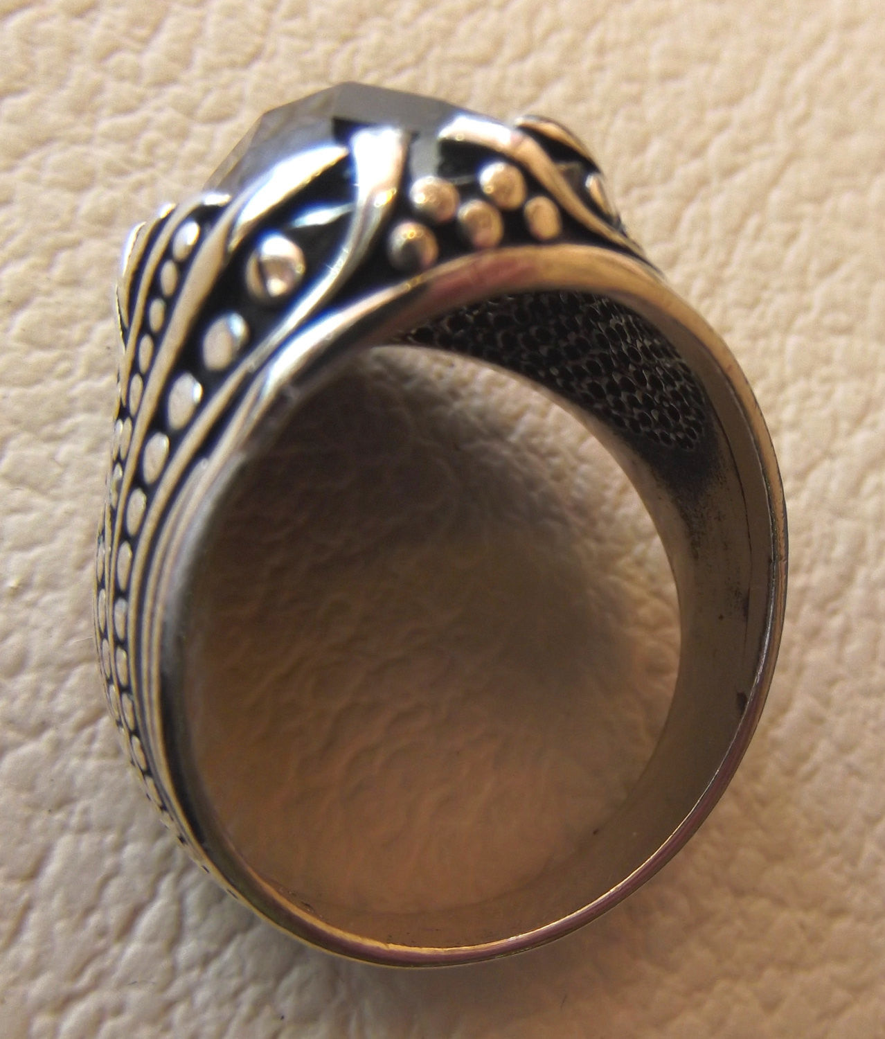men ring black white sterling silver 925 all sizes jewelry oval cabochon onyx stone middle eastern oriental Ottoman arabic turkish style