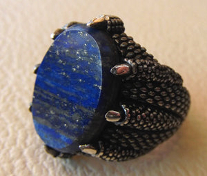 lapis lazuli natural semi precious blue stone man sterling silver 925 ring gemstone oval flat gem jewelry all sizes