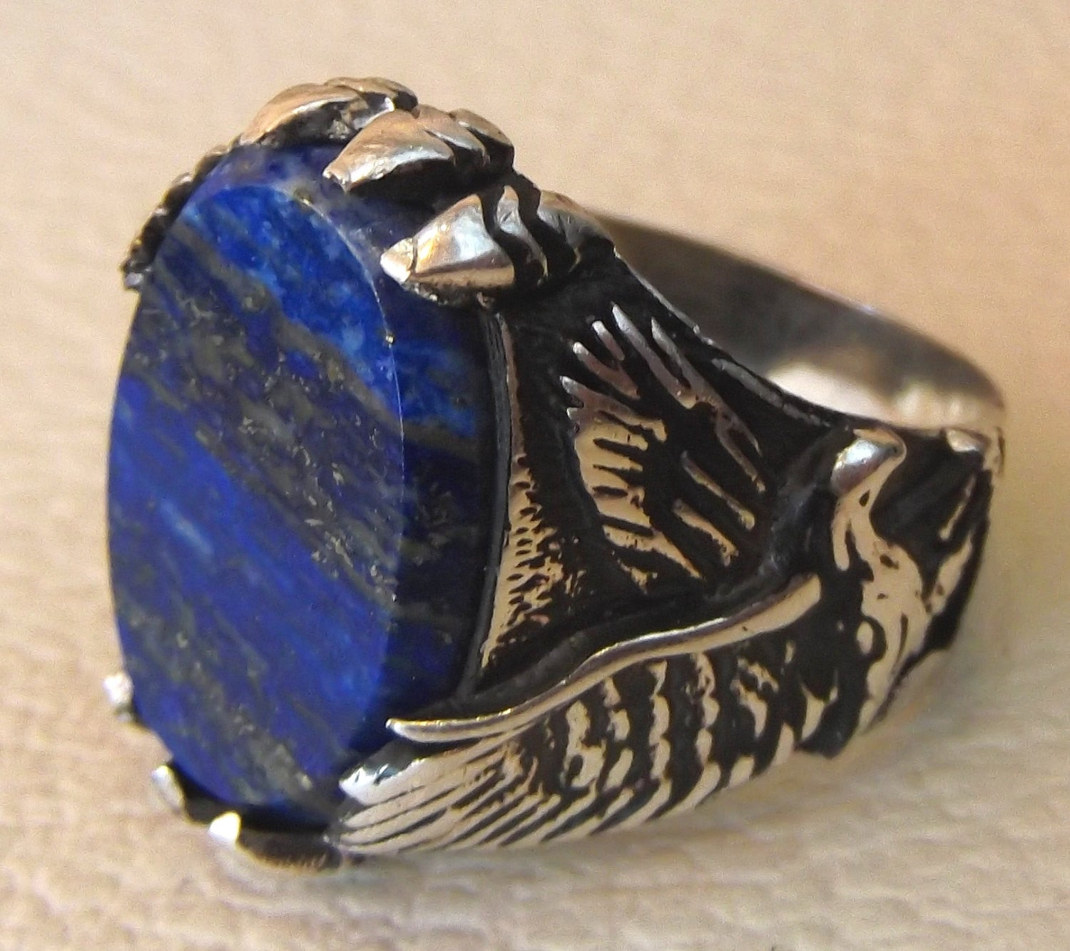 blue natural semi precious stone lapis lazuli gemstone sterling silver 925 men ring eagle all sizes flat oval gem antique style jewelry