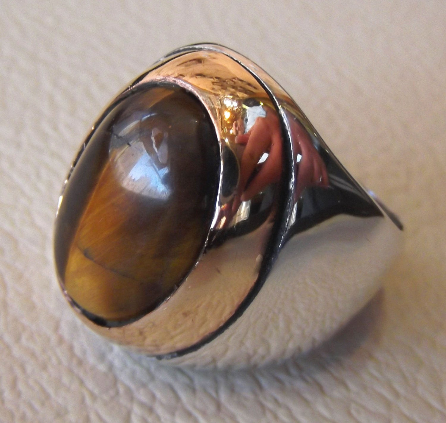 tiger eye big oval cabochon two tone men ring sterling silver 925 bronze frame cat eye semi precious natural stone all sizes jewelry