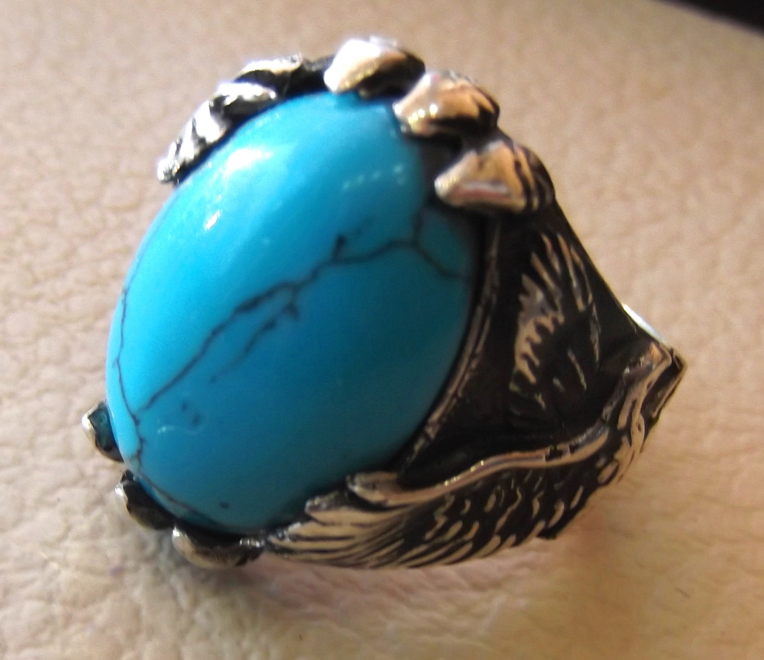blue turquoise cabochon stone sterling silver 925 men ring vintage eagle style  animal jewelry oval stone all sizes fast shipping