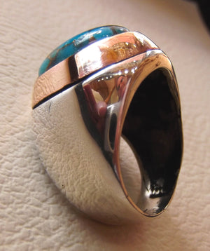 copper turquoise natural stone men sterling silver 925 ring oval cabochon semi precious gem bronze frame ottoman style all sizes jewelry