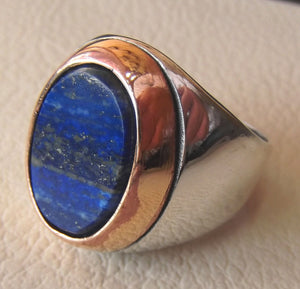lapis lazuli flat oval natural blue stone ring bronze and sterling silver 925 men jewelry all sizes 18 * 13 mm gem ottoman middle eastern