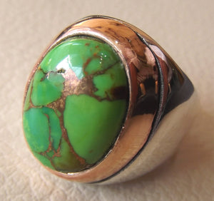 green copper turquoise huge natural stone men ring sterling silver 925 stunning genuine gem two tone ottoman arabic style jewelry all sizes
