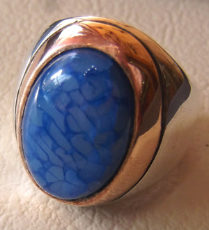 dragon vein blue agate stone men ring sterling silver 925 oval cabochon bronze frame all sizes two tone heavy unique jewelry