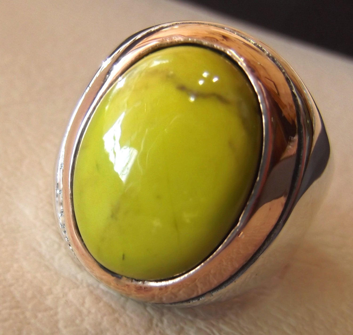 mohave yellow turquoise natural stone semi precious oval gem sterling silver 925 men ring jewelry ottoman arabic style 2 tone bronze frame