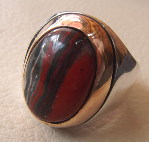 snake skin jasper stone natural gem sterling silver 925 ring red and black oval semi precious cabochon man ring jewelry with bronze frame