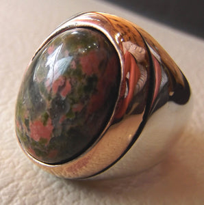 unakaite natural cabochon men huge ring sterling silver 925 with bronze frame semi precious oval green rose unakite gem jewelry all sizes