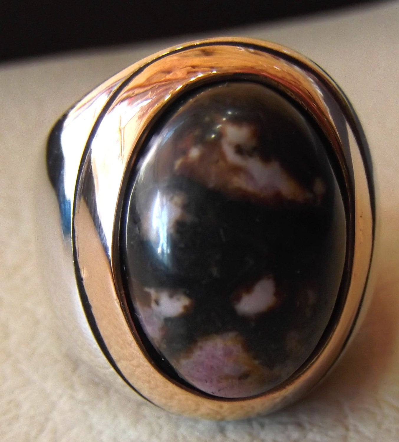 huge men ring rhodonite jasper oval sterling silver 925 natural stone semi precious pink and black gem in bronze frame two tone jewelry