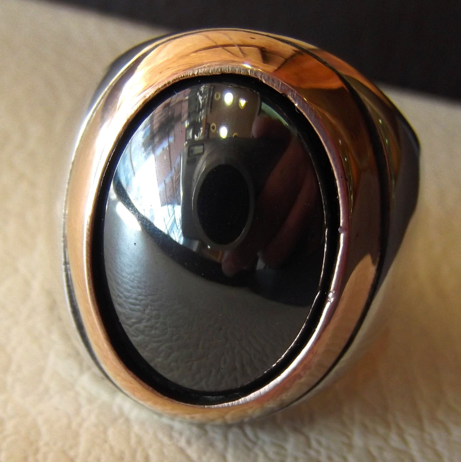 hematite natural stone sterling silver 925 man ring 18 mm 13 mm cabochon semi precious in bronze frame jewelry all sizes nice gift