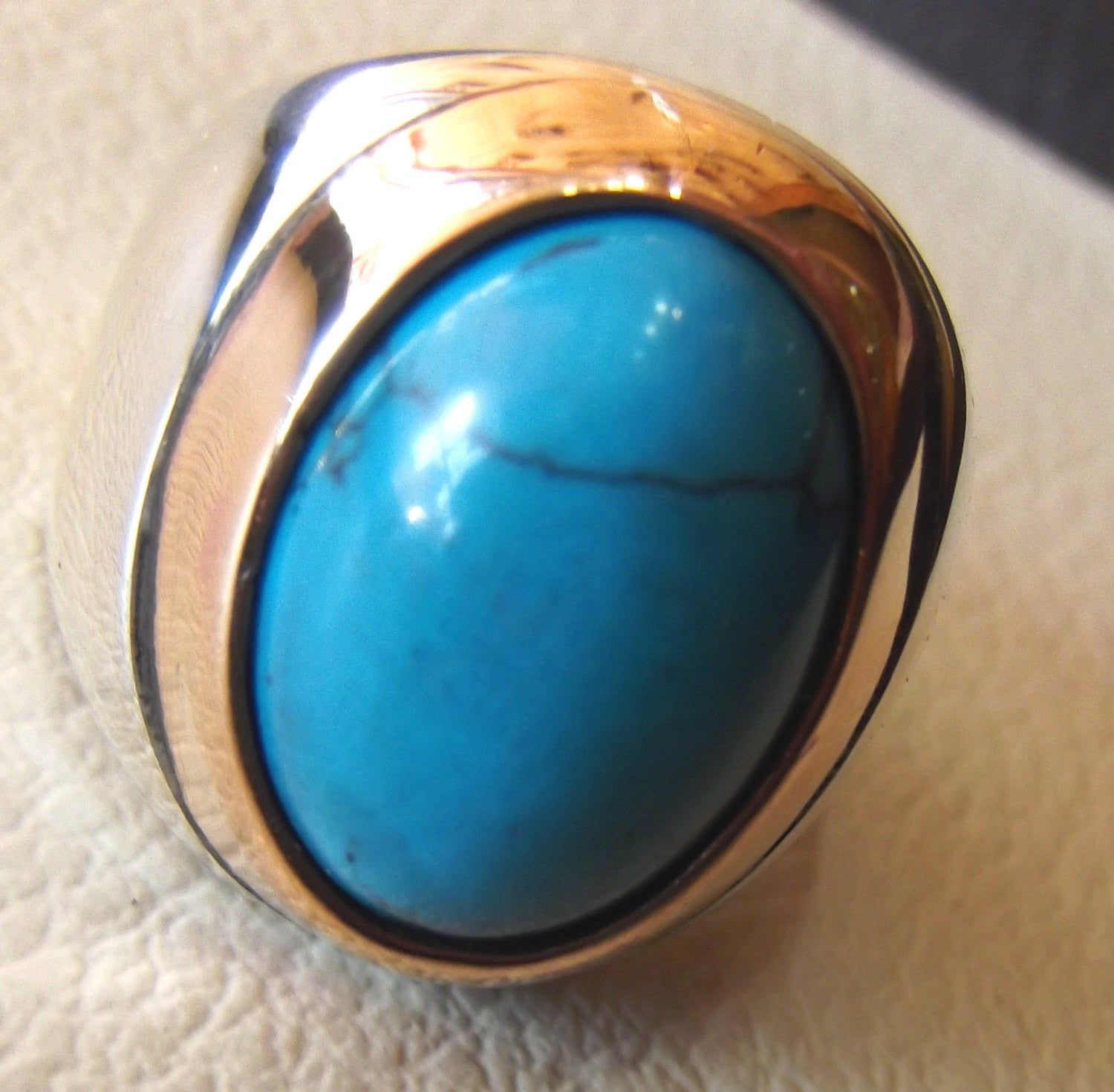 turquoise heavy sterling silver men ring blue oval arab ottoman middle eastern jewelry cabochon stone all sizes bronze frame