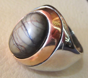 men ring picasso jasper natural brown semi precious cabochon stone sterling silver 925 jewelry heavy two tone bronze frame any size free
