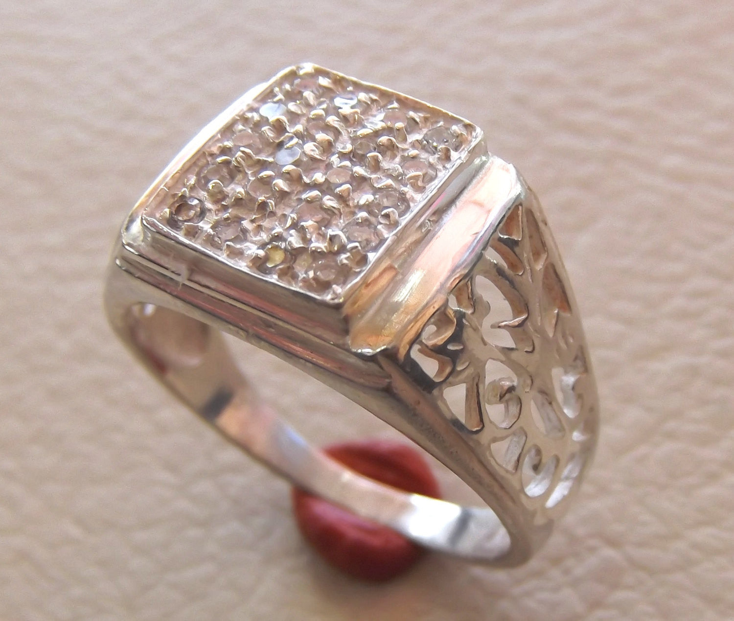 white cubic zircon pave setting sterling silver 925 ring rectangular face multi stone handmade any size fast shipping jewelry