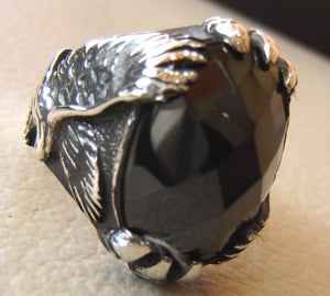 onyx eagle ring black agate gem natural oval stone sterling silver 925 men animal jewelry any size free shipping oxidized antique style