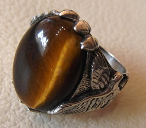 Tiger eye cat eye semi precious natural stone gem oval cabochon eagle man ring sterling silver 925 any size fast shipping jewelry oxidized
