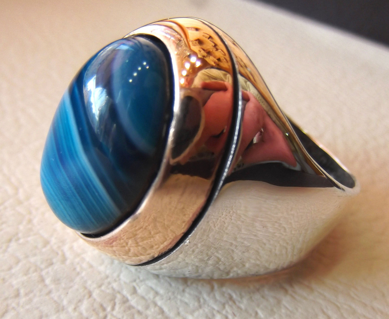 blue agate striped oval cabochon huge man ring sterling silver 925 bronze frame all sizes two tone jewelry arabic middle eastern style