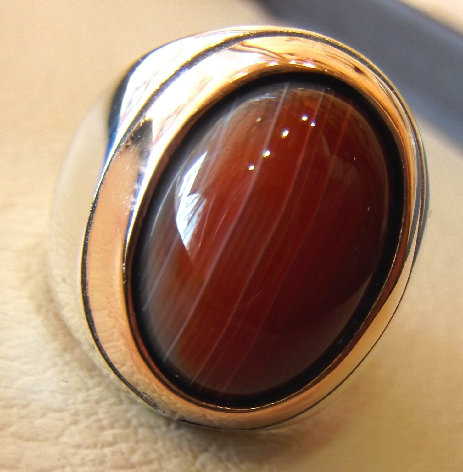 agate carnelian natural red yemen aqeeq sterling silver man heavy ...