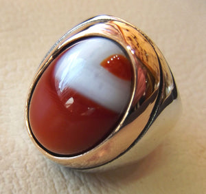 multi color yemen agate aqeeq carnelian sterling silver 925 ring bronze frame heavy jewelry red orange brown white yellow arabic style oval