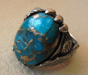 eagle ring natural copper turquoise stone semi precious oval cabochon blue gem all sizes animal men sterling silver jewelry fast shipping