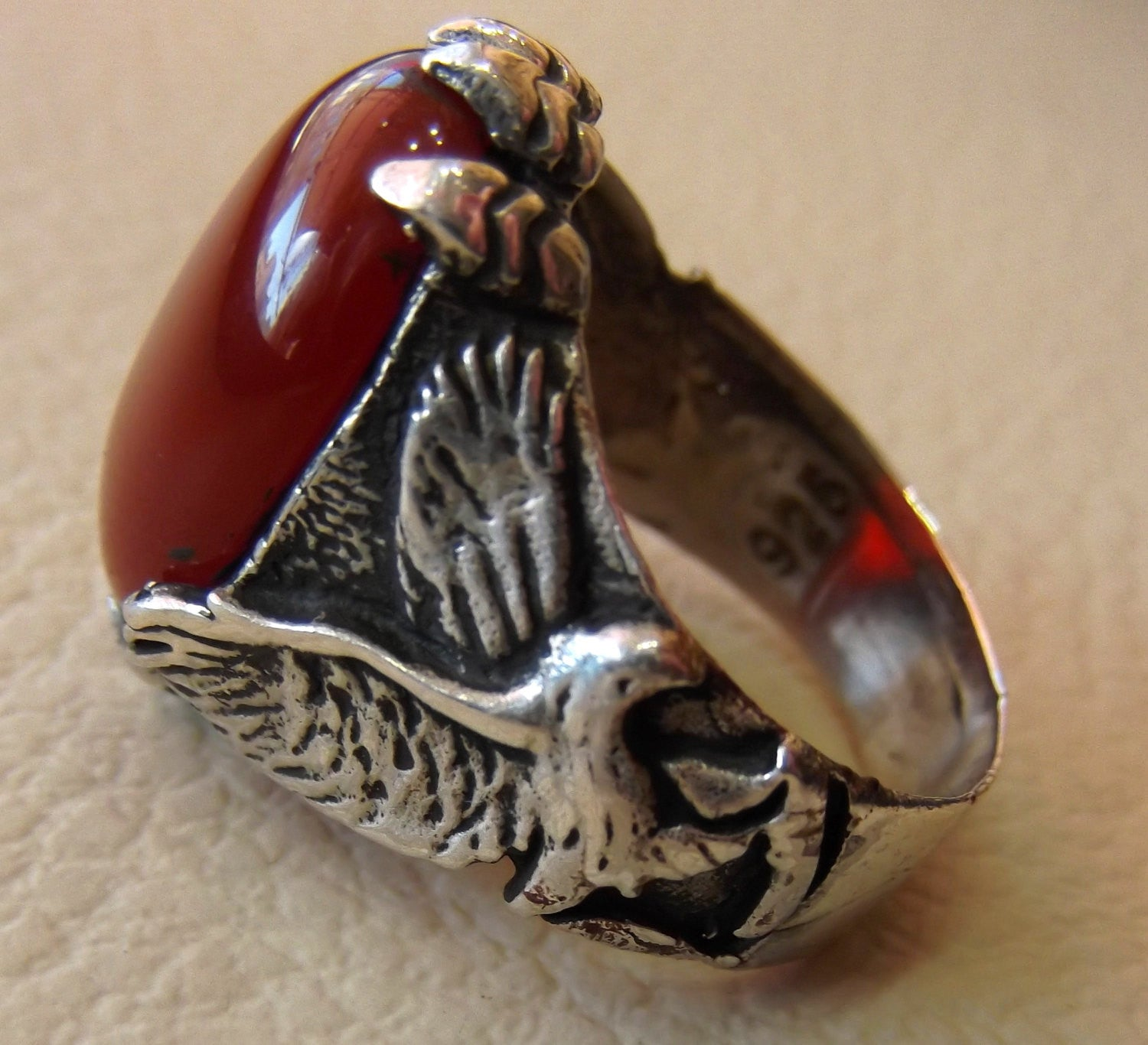 carnelian liver agate yamani aqeeq semi precious natural red stone man eagle ring sterling silver 925 oxidized jewelry any size fast ship