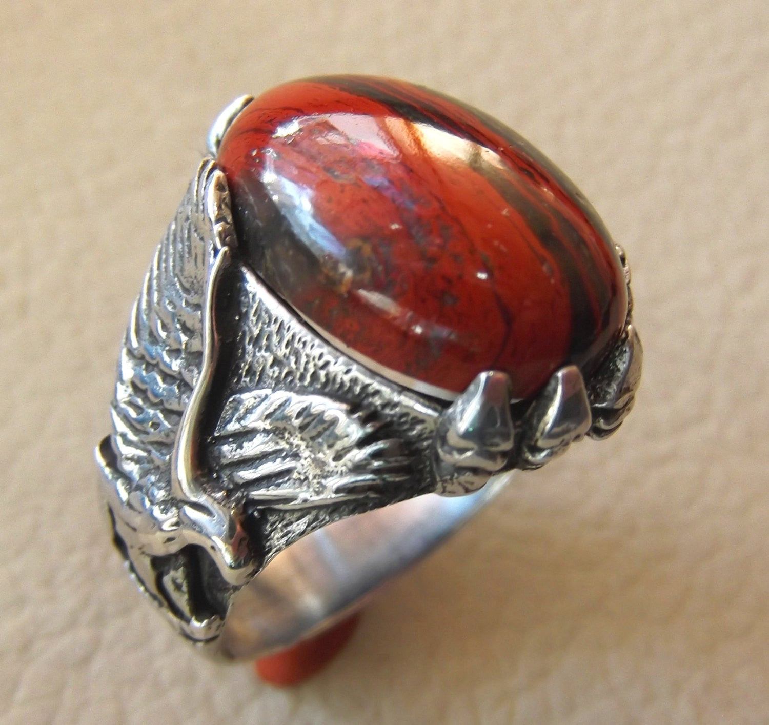 b27d6228e44a0 snake skin jasper stone natural gem sterling silver 925 ring red and black  oval semi precious cabochon man eagle ring jewelry fast shipping