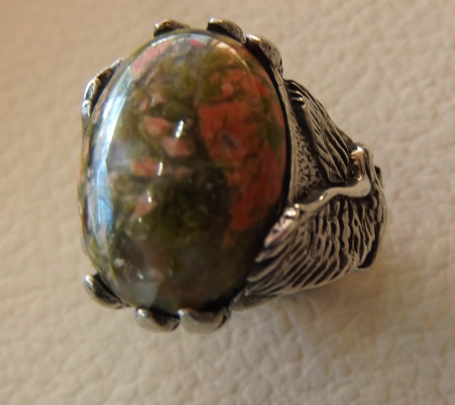 unakaite natural cabochon men huge ring sterling silver 925 with eagle semi precious oval green rose unakite gem jewelry all sizes