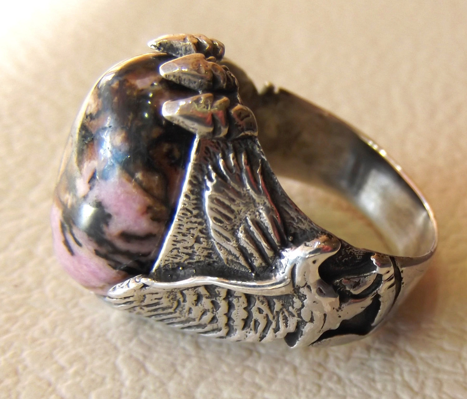 eagle men ring rhodonite jasper oval sterling silver 925 natural stone semi precious pink and black gem all sizes fast shipping jewelry