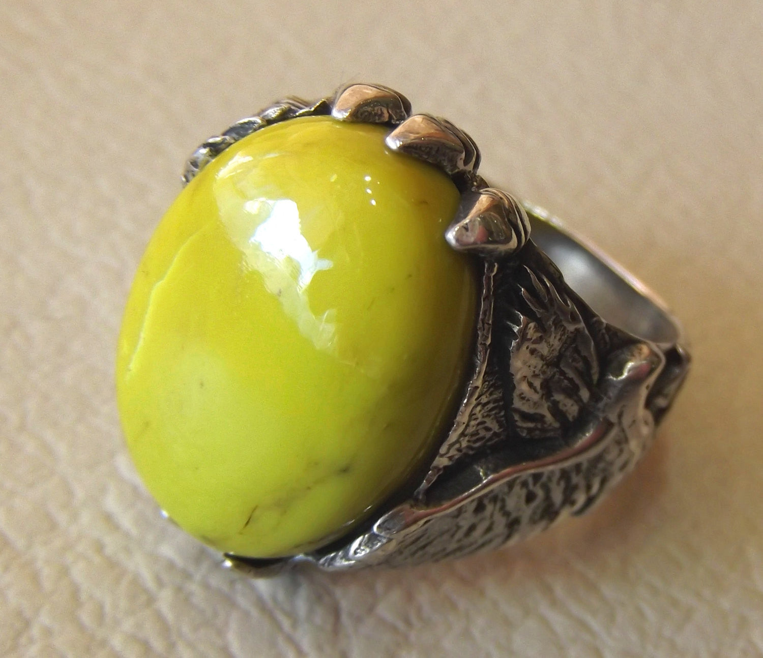 mohave yellow turquoise natural stone semi precious oval gem sterling silver 925 men eagle ring jewelry unique gemstone fast shipping