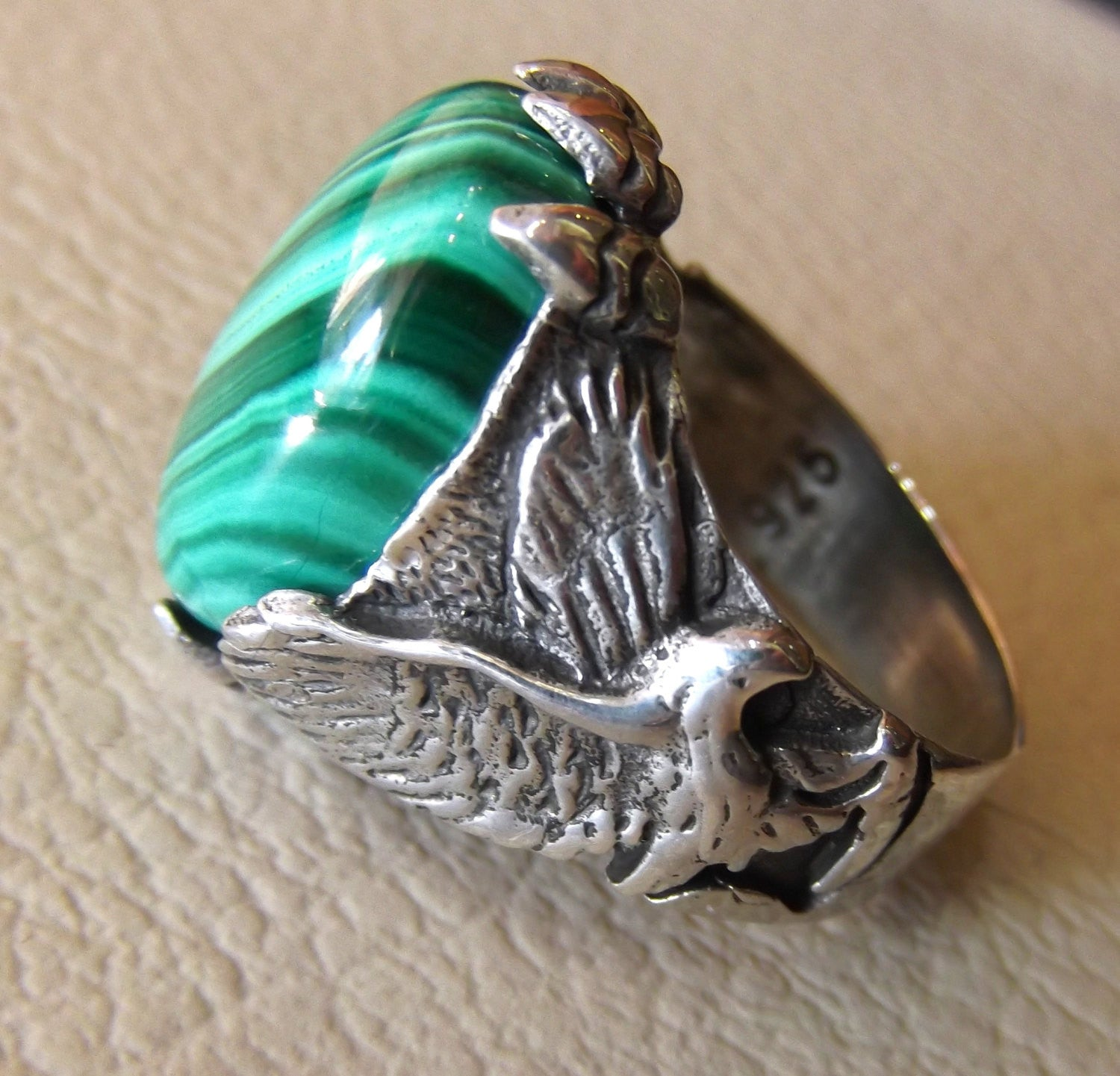 malachite natural green gemstone oval cabochon stone eagle ring sterling silver 925 semi precious any size jewelry man gift fast shipping