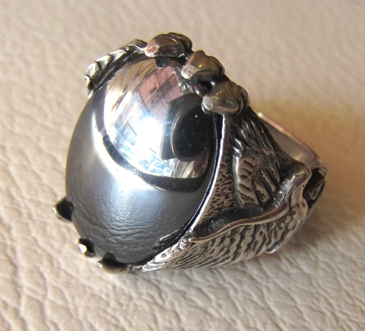 hematite natural stone sterling silver 925 man eagle ring 18 mm 13 mm grey mirror cabochon semi precious jewelry all sizes nice gift