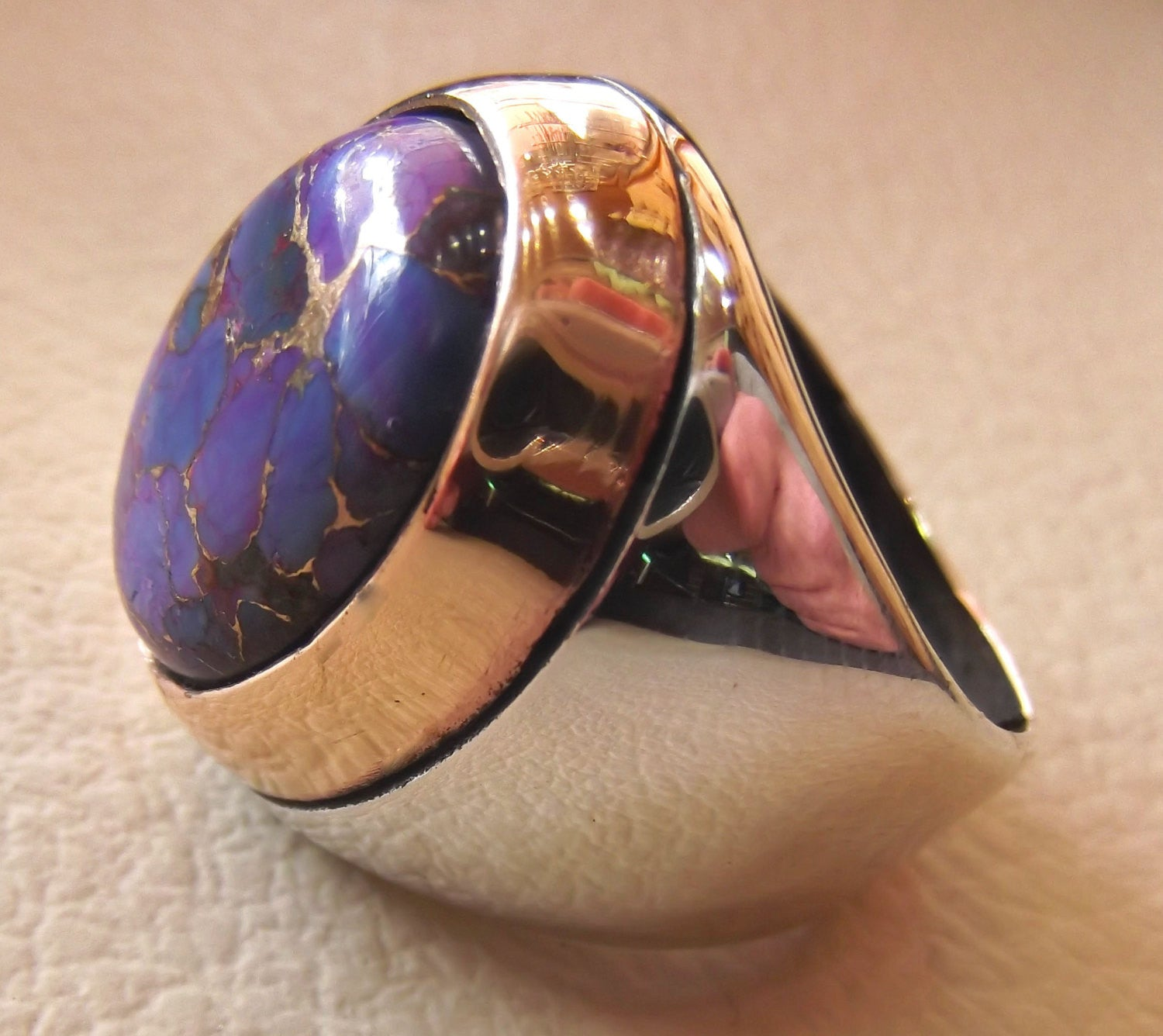 purple mohave copper turquoise natural stone men sterling silver 925 ring oval cabochon semi precious gem bronze frame  all sizes jewelry