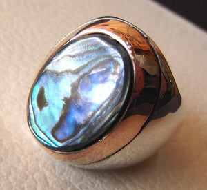 abalone shell multi color blue rainbow stone sterling silver 925 bronze frame men ring heavy huge all sizes fast shipping two tone jewelry