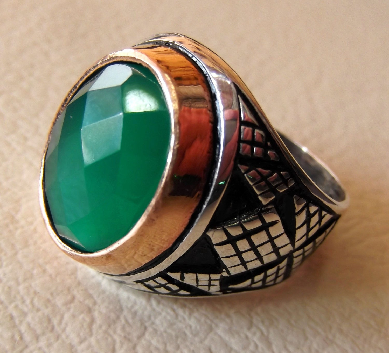 green agate aqeeq sterling silver 925 vintage men ring arabic style jewelry any size fast shipping faceted semi precious natural stone