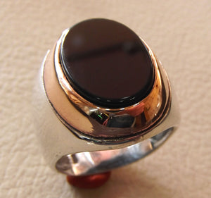 black agate onyx flat aqeeq oval stone heavy big men ring sterling silver 925 bronze frame arabic vintage style all sizes fast shipping