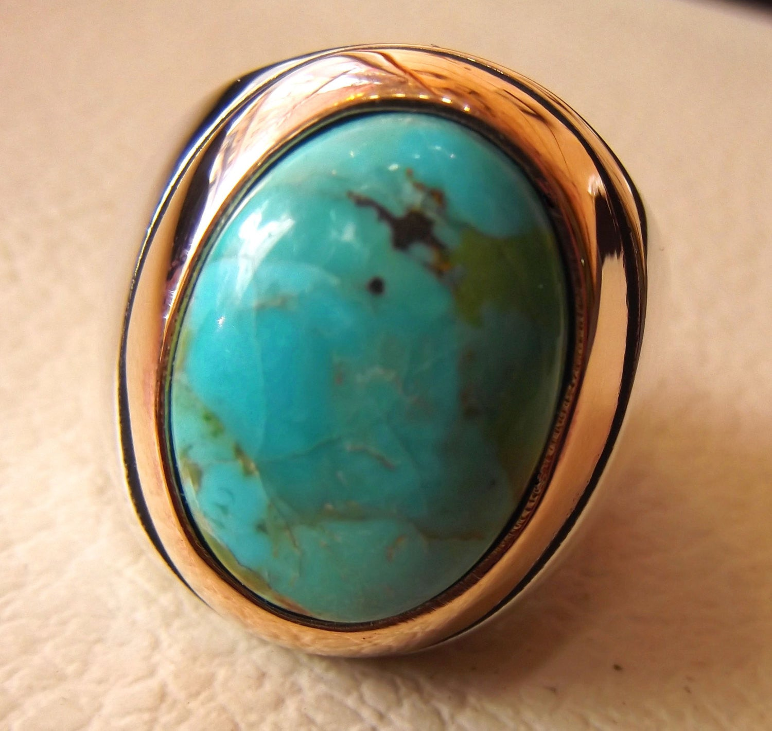 arizona turquoise best quality semi precious natural gemstone oval blue cabochon stone heavy ring sterling silver 925 bronze frame jewelry