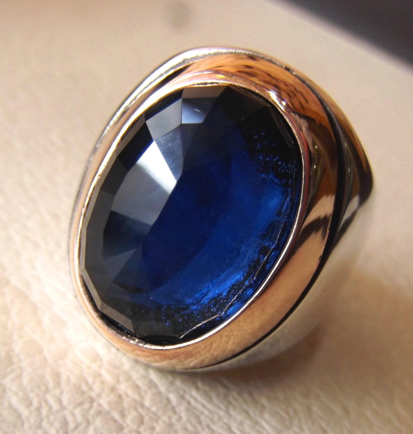 sapphire synthetic imitation stone huge heavy ring dark blue faceted gem sterling silver 925 and bronze all sizes fast shipping jewelry