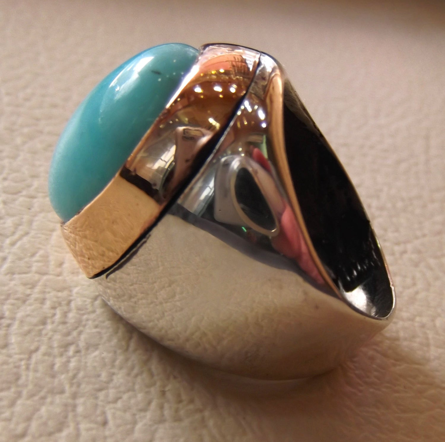 amazonite sky blue natural semi precious gem oval cabochon stone bronze frame sterling silver 925 man ring all sizes fast shipping jewelry