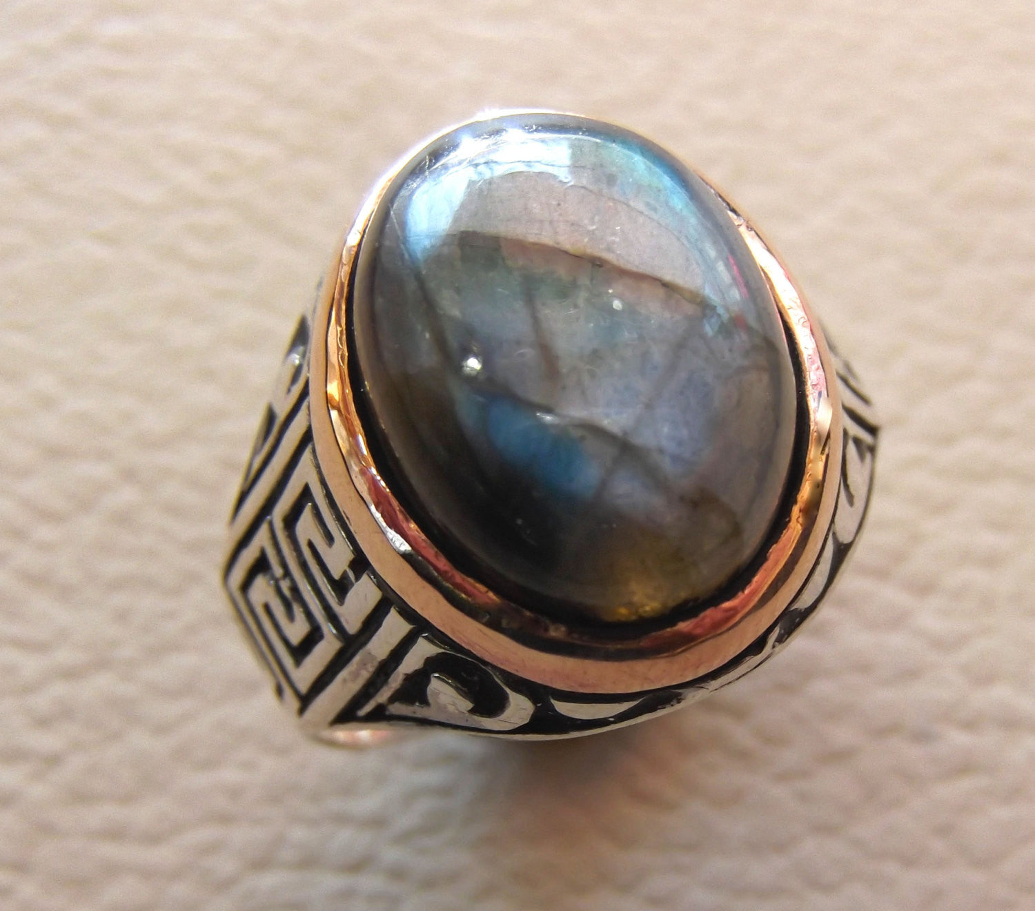 Labradorite natural stone multi color semi precious cabochon stone man ring sterling silver 925 bronze frame all sizes jewelry fast shipping