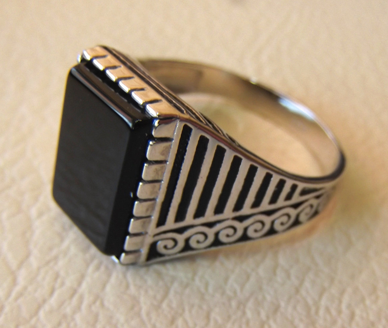 onyx black agate natural flat rectangular semi precious stone sterling silver 925 man ring any size turkey arabic style jewelry fast ship